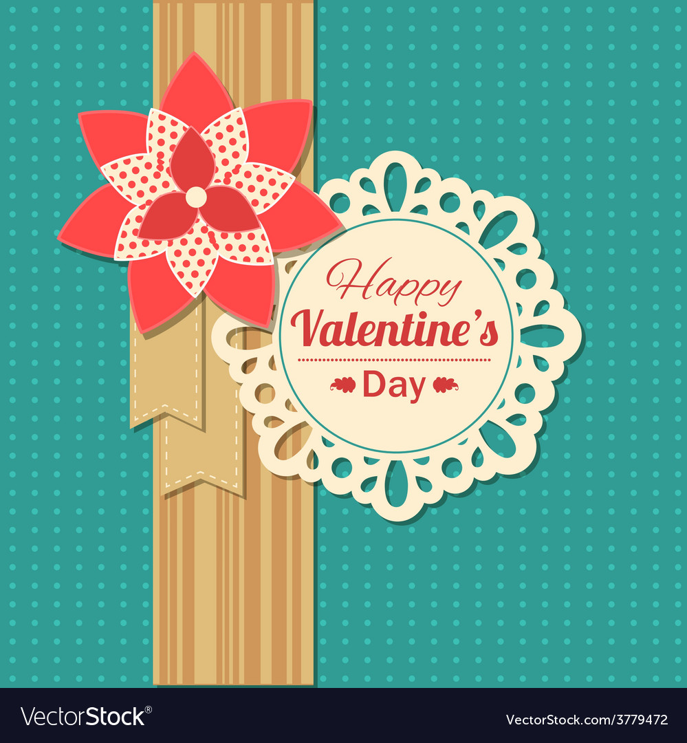 Valentines day typographical retro holiday card vector | Price: 1 Credit (USD $1)