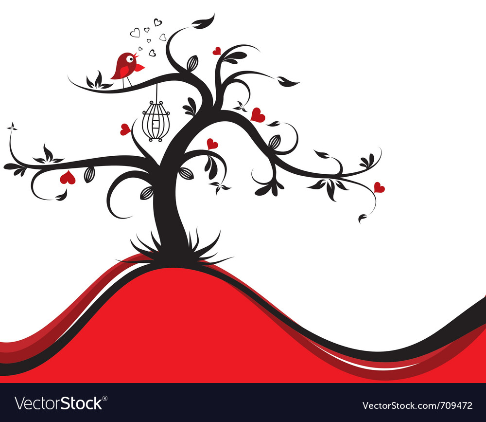 Valentines tree background vector | Price: 1 Credit (USD $1)