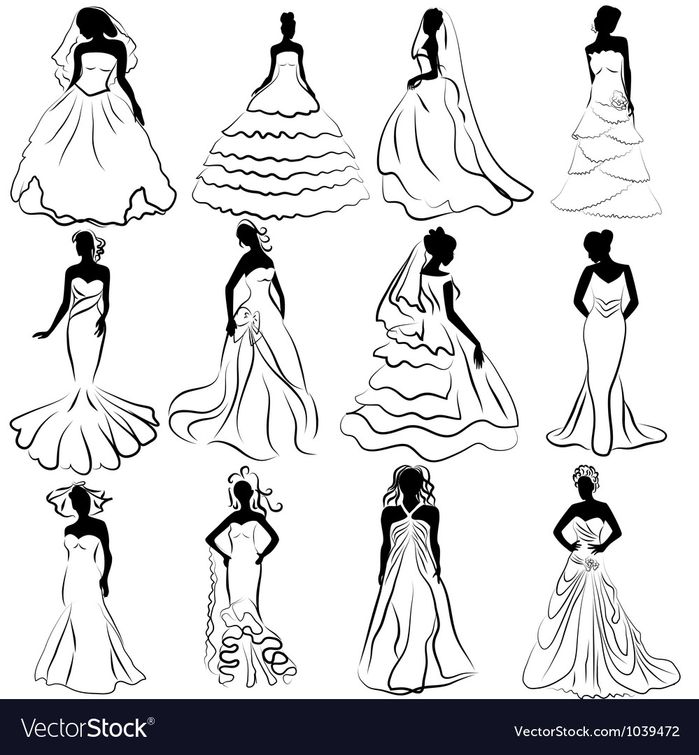 Wedding bride gown vector | Price: 1 Credit (USD $1)