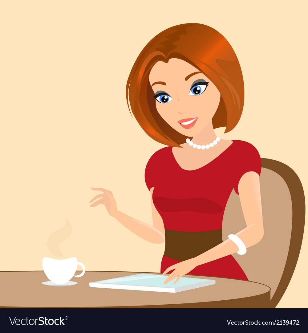 Young pretty woman sitting in the cafe and using a vector | Price: 1 Credit (USD $1)