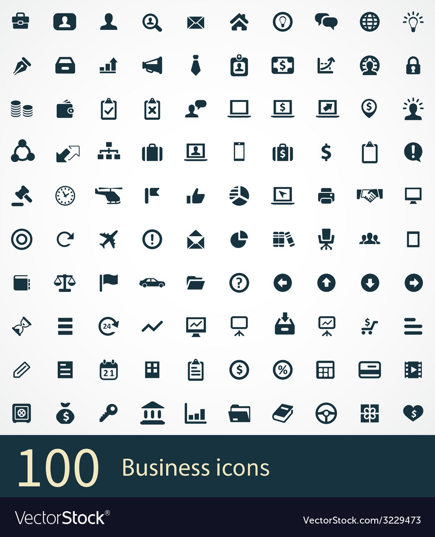 100 business icons vector | Price: 1 Credit (USD $1)