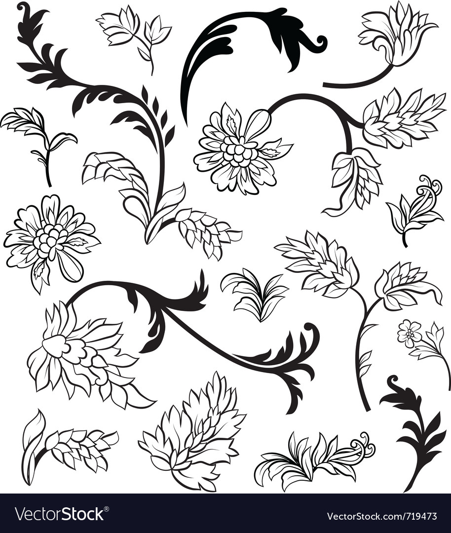Black outline flower elements vector | Price: 1 Credit (USD $1)