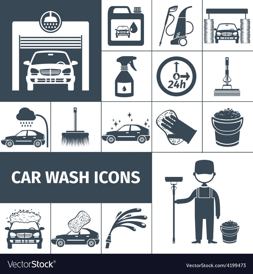 Car wash service icons set black vector | Price: 1 Credit (USD $1)