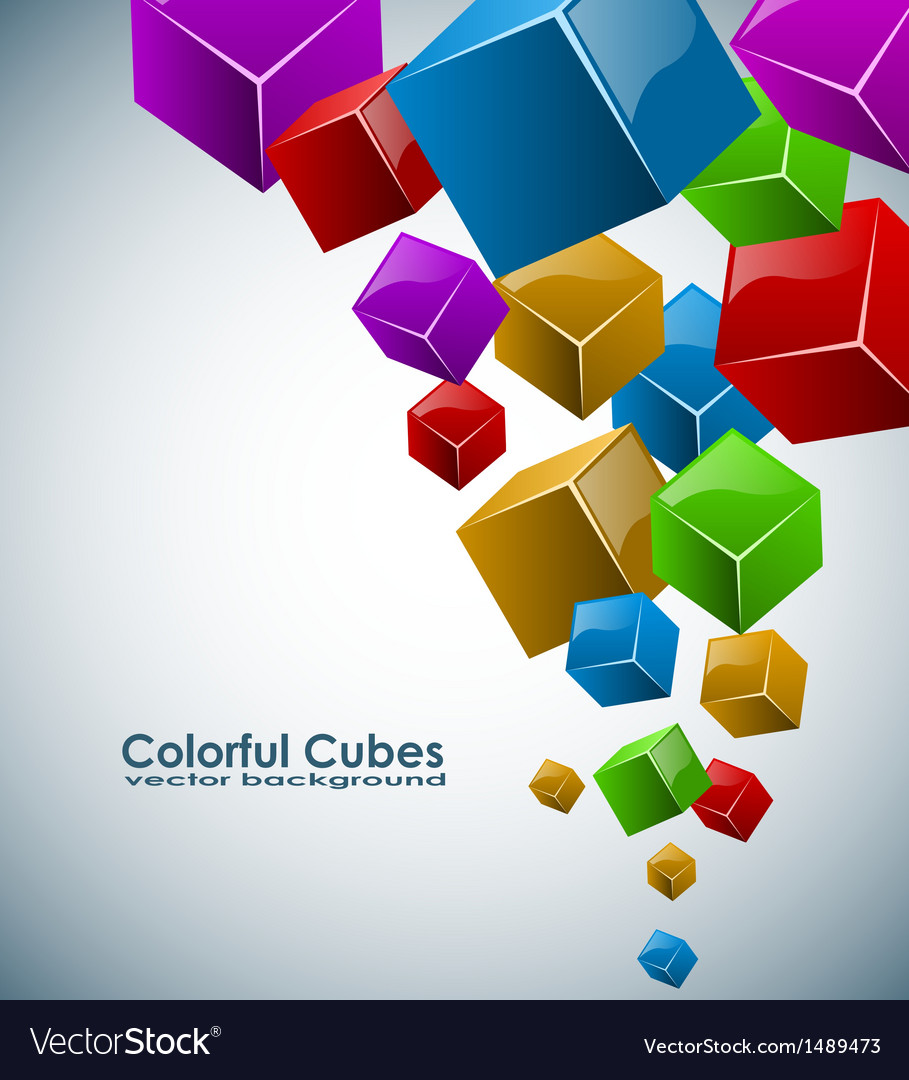 Colorful 3d cubes background with copy space vector | Price: 1 Credit (USD $1)