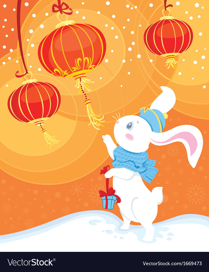 Curiosity white rabbit and chinese lanterns vector | Price: 1 Credit (USD $1)