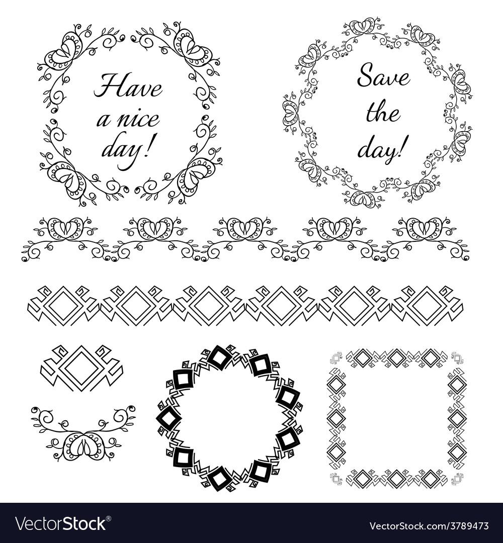 Decorative vintage frames and design elements vector | Price: 1 Credit (USD $1)