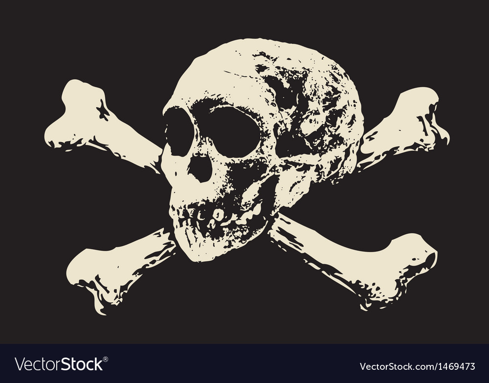 Evil skull with bones warning sign vector | Price: 1 Credit (USD $1)