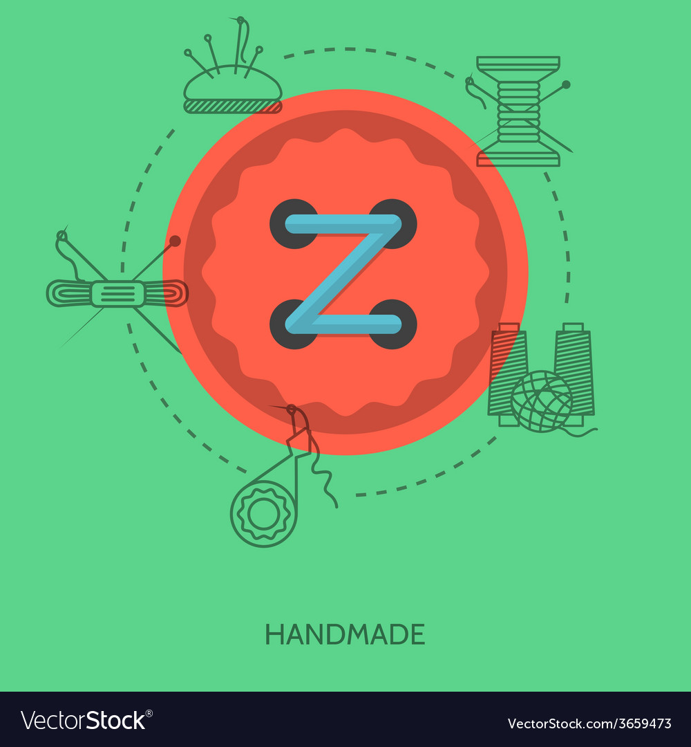 Flat for handmade red button vector | Price: 1 Credit (USD $1)