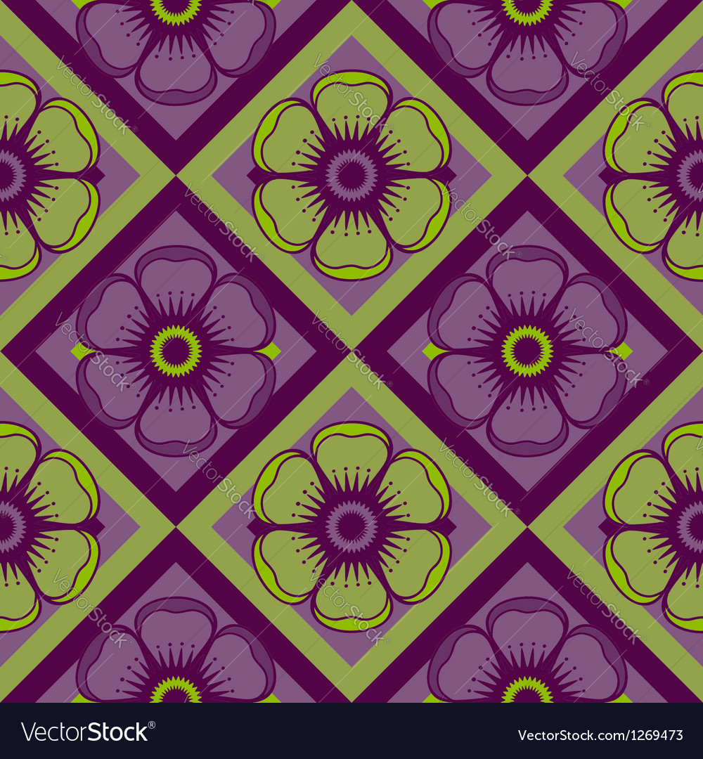 Geometrical pattern with abstract flowers vector | Price: 1 Credit (USD $1)