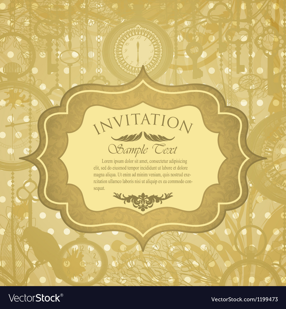 Grungy invitation with antique clocks vector | Price: 1 Credit (USD $1)