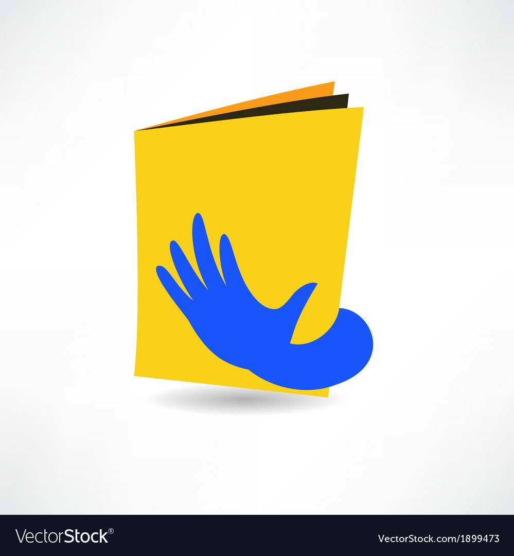 Hand on the book icon vector | Price: 1 Credit (USD $1)