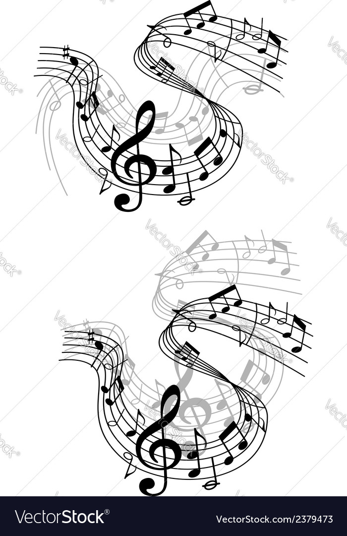 Music notes waves and compositions vector | Price: 1 Credit (USD $1)