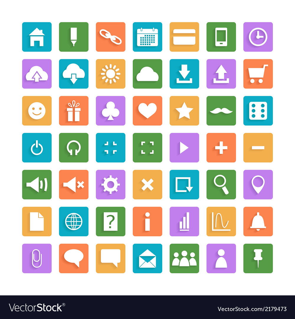 Set of color web icons vector | Price: 1 Credit (USD $1)