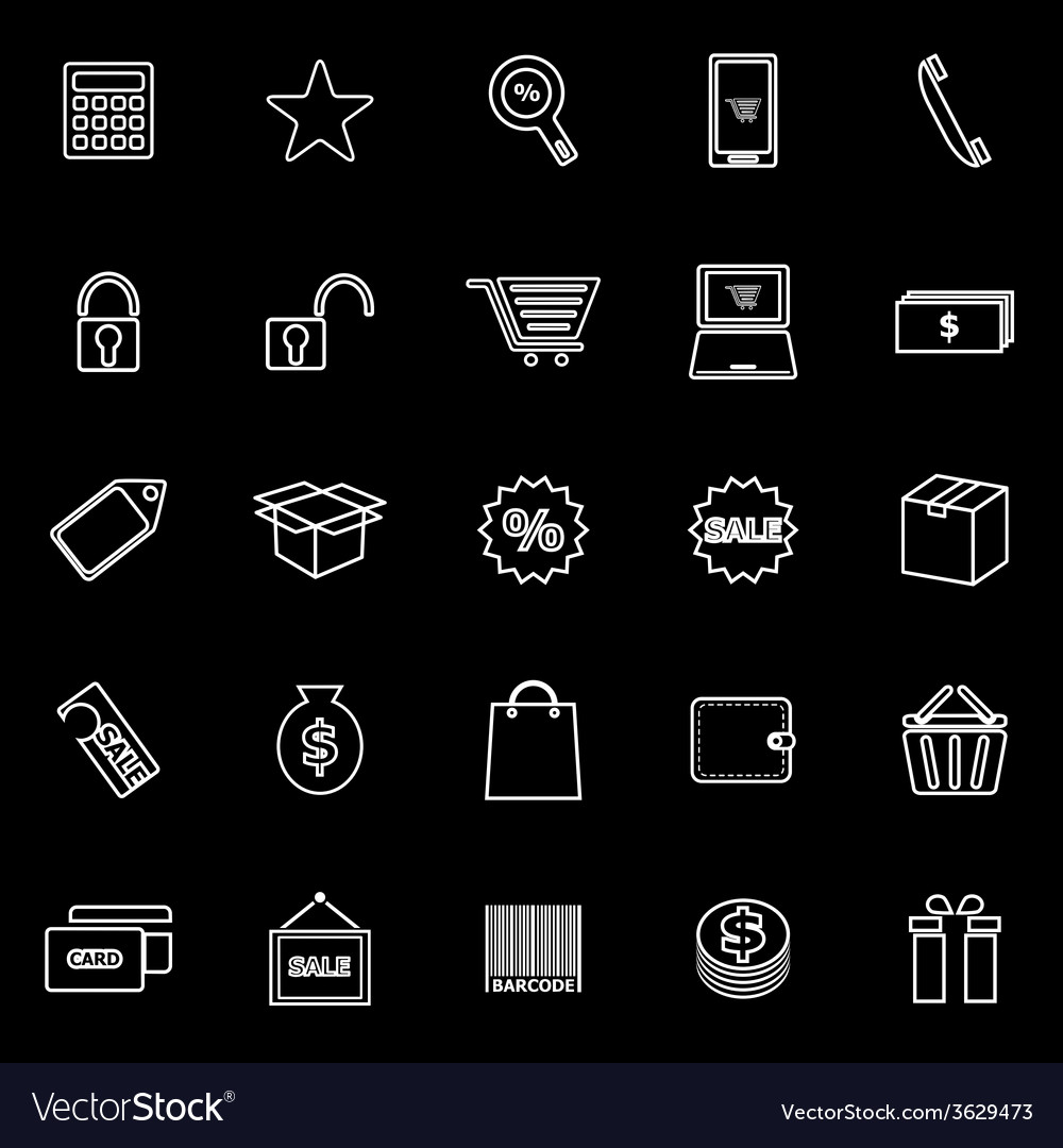 Shopping line icons on black background vector | Price: 1 Credit (USD $1)