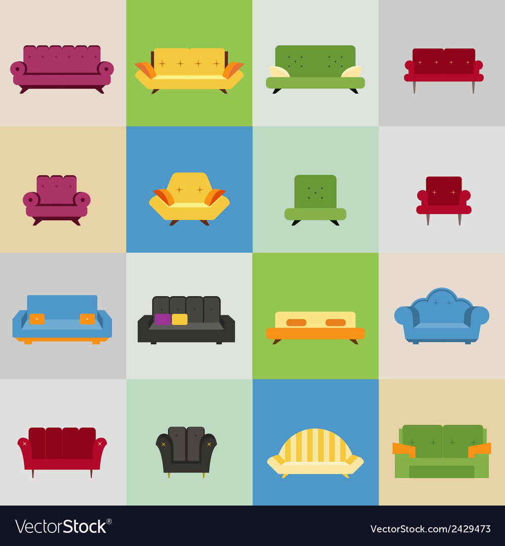 Sofa and armchair icons vector | Price: 1 Credit (USD $1)