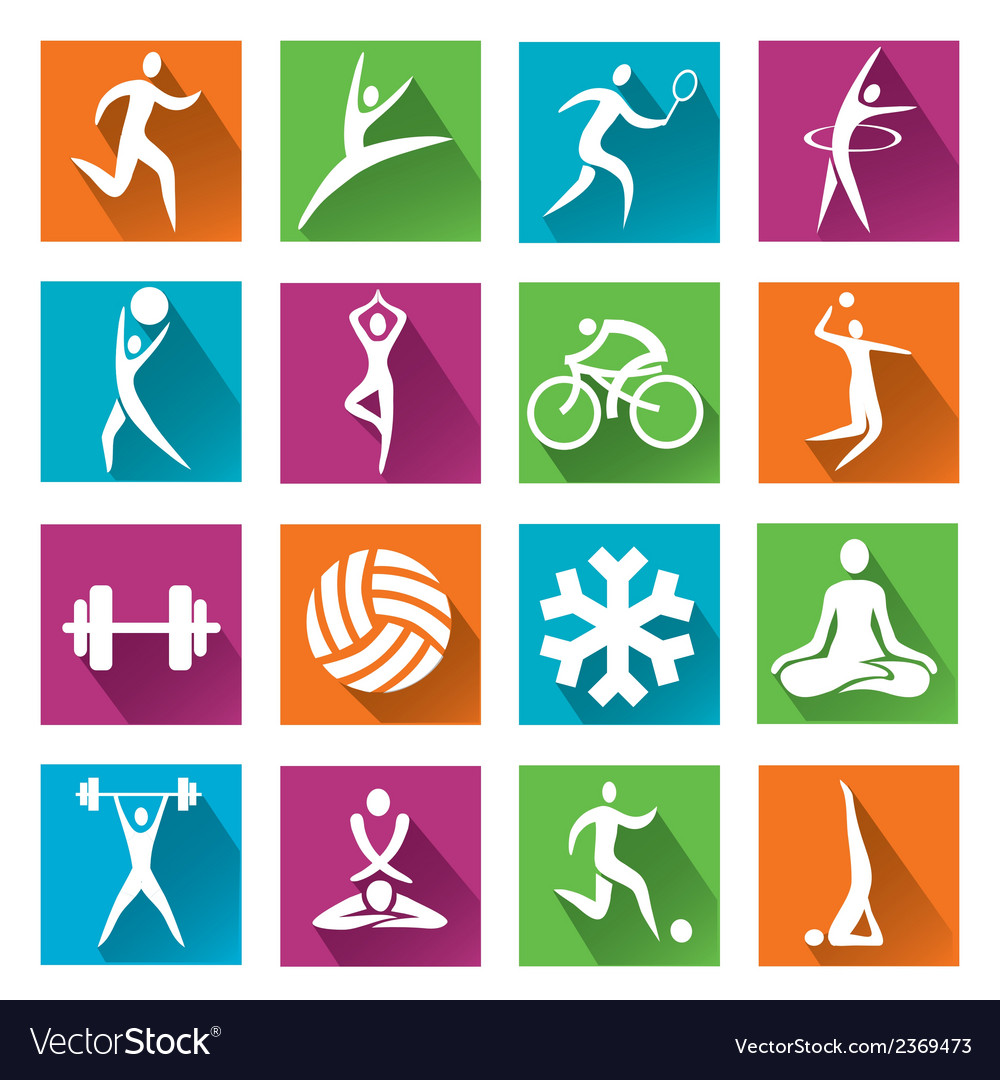 Sport and fitness colorful icons vector | Price: 1 Credit (USD $1)