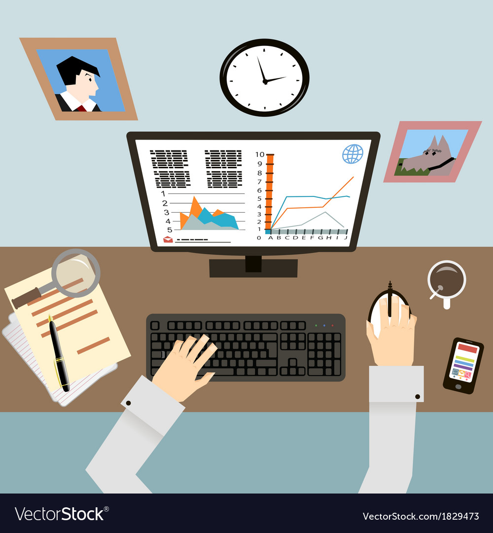 Workplace with hands and infographic in flat vector | Price: 1 Credit (USD $1)