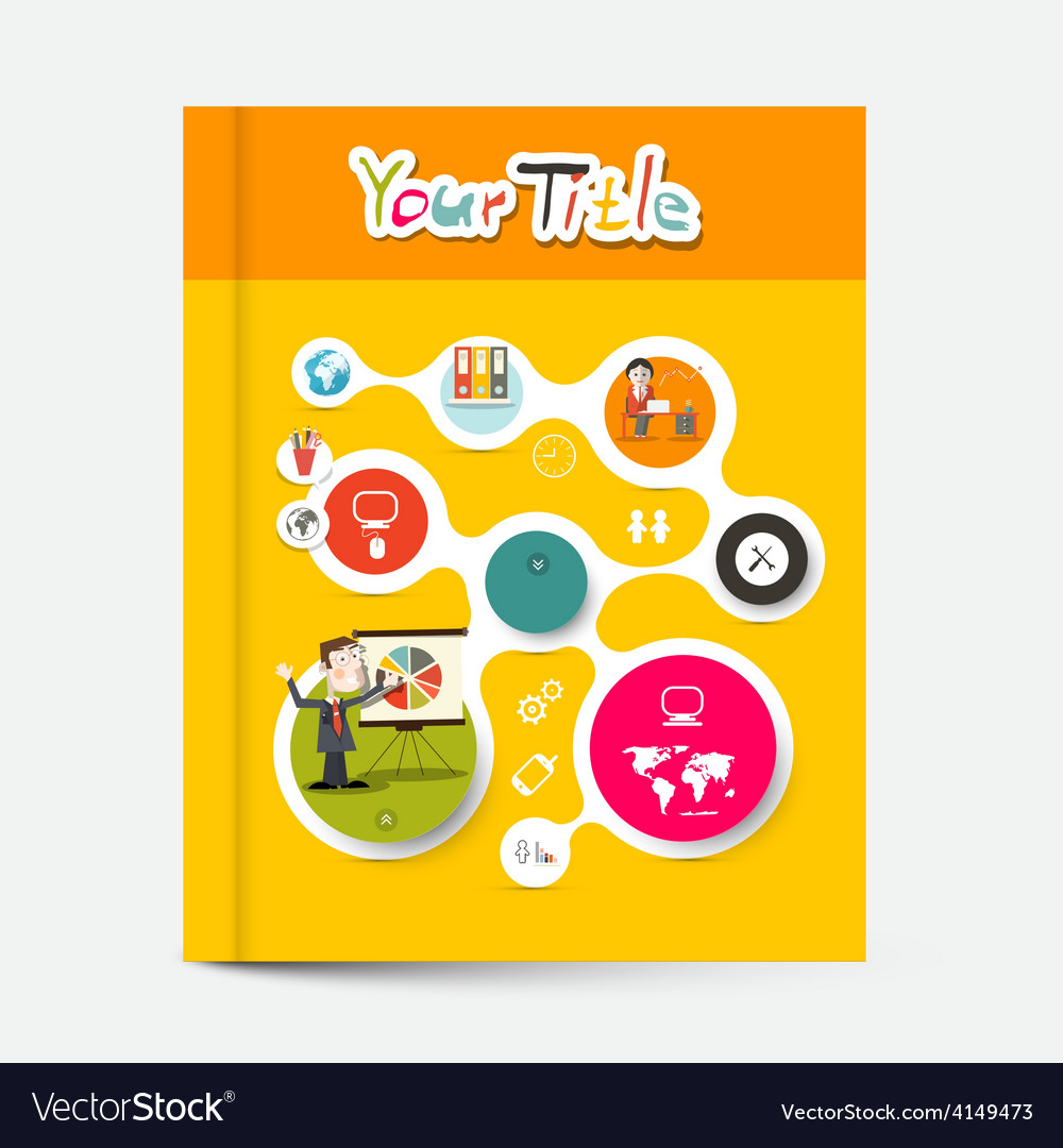 Yellow and orange brochure - business education vector | Price: 1 Credit (USD $1)