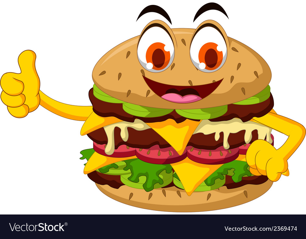 Cute cartoon burger thumb up vector | Price: 1 Credit (USD $1)