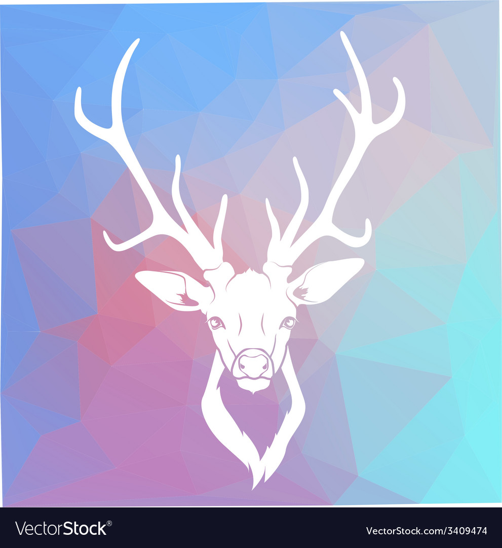 Deer head on triangle background vector | Price: 1 Credit (USD $1)