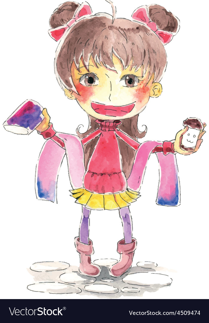 Girl watercolor vector | Price: 1 Credit (USD $1)