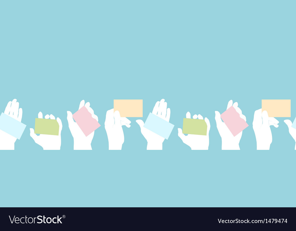 Hands holding business cards seamless pattern vector | Price: 1 Credit (USD $1)