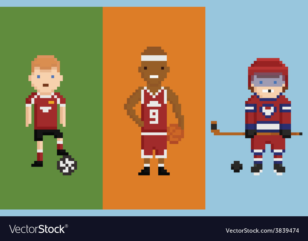 Pixel art style - sportsman football vector | Price: 1 Credit (USD $1)