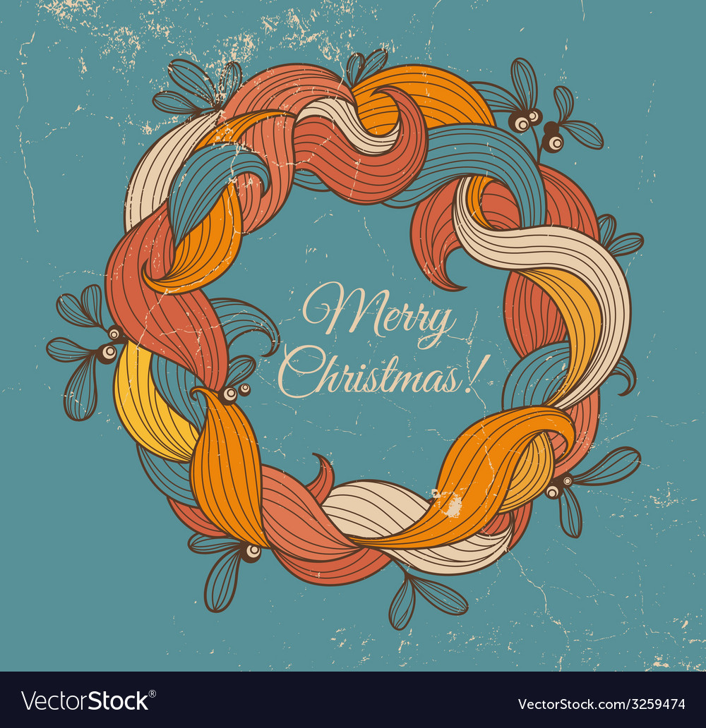 Retro greeting card with christmas wreath vector | Price: 1 Credit (USD $1)