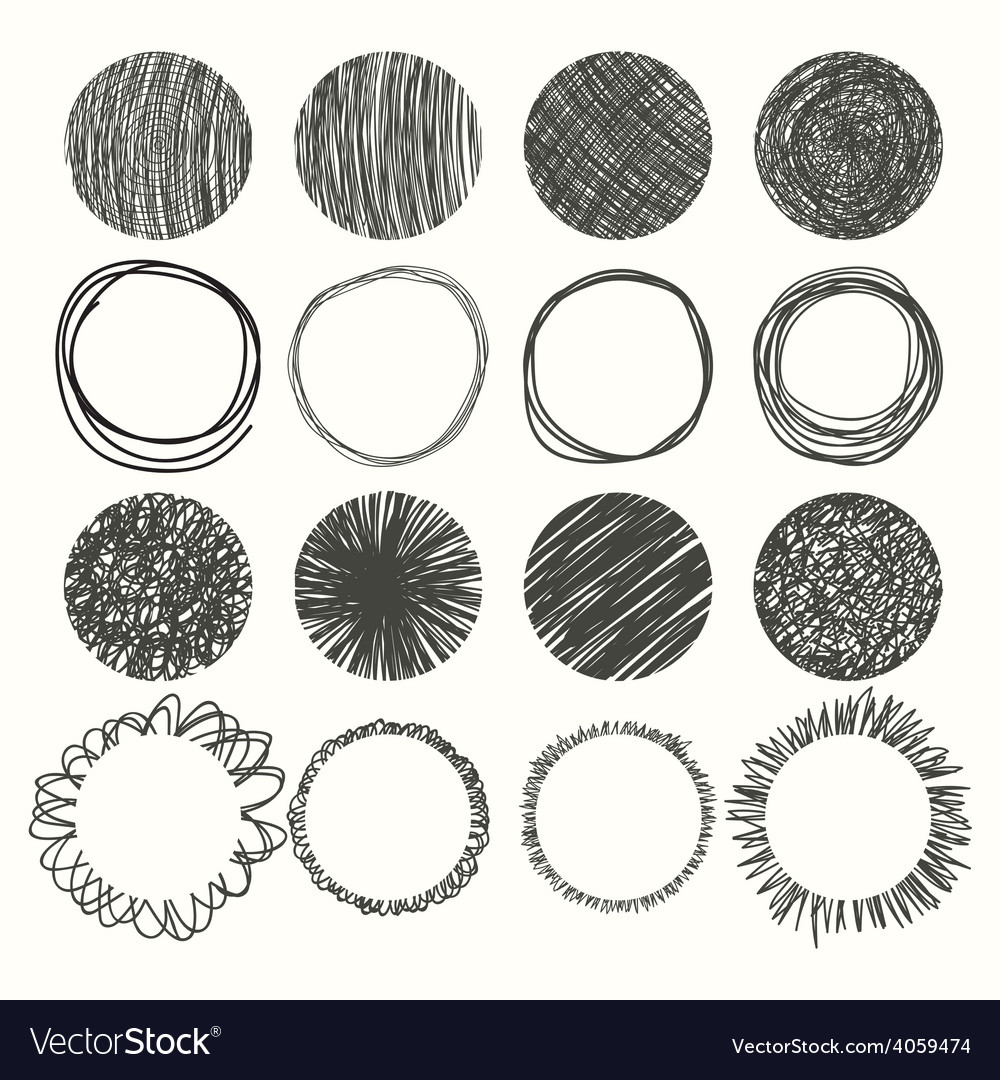 Set of hand drawn circles design elements vector | Price: 1 Credit (USD $1)