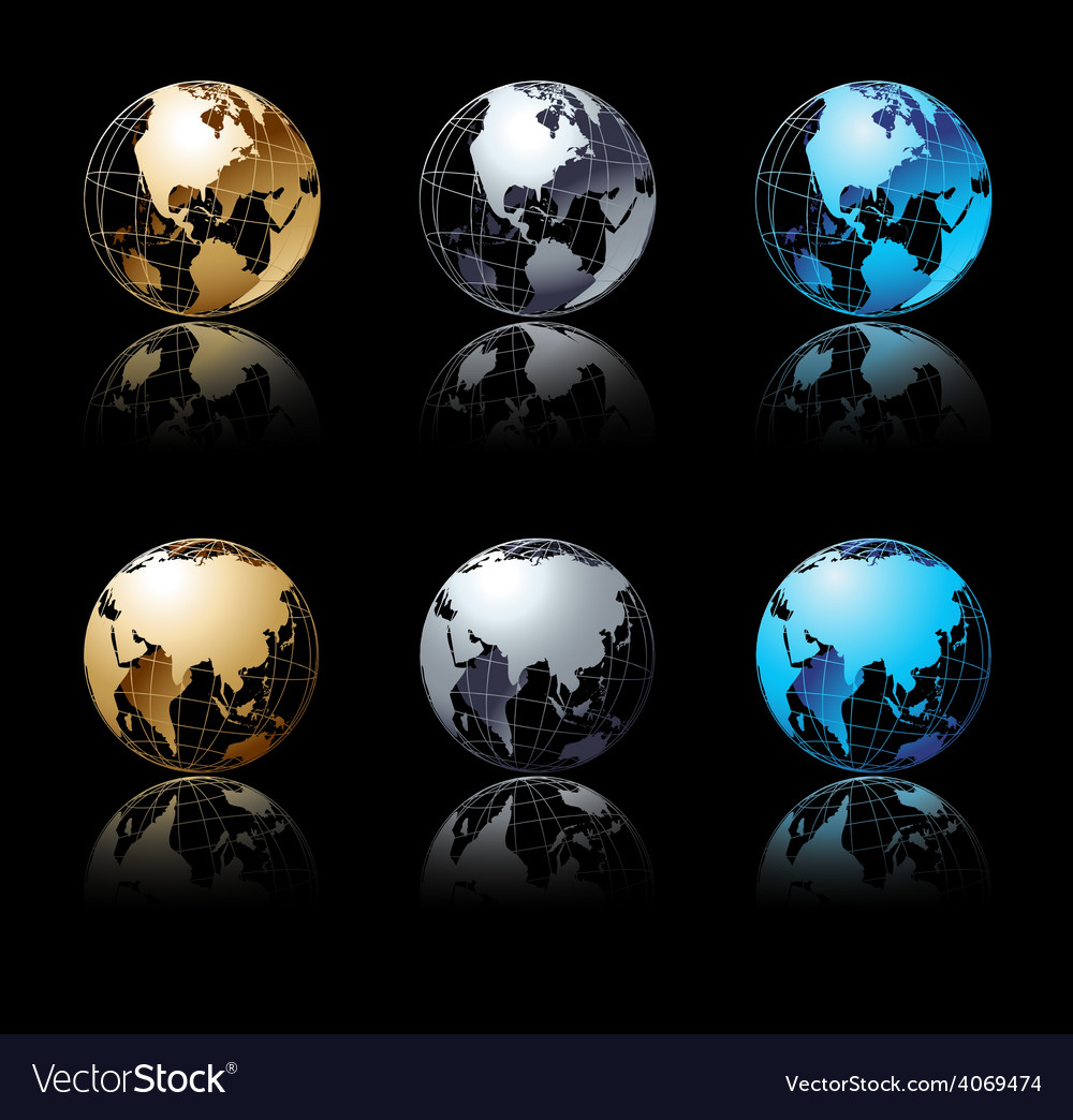 Set of silver gold and blue globe in black vector | Price: 1 Credit (USD $1)