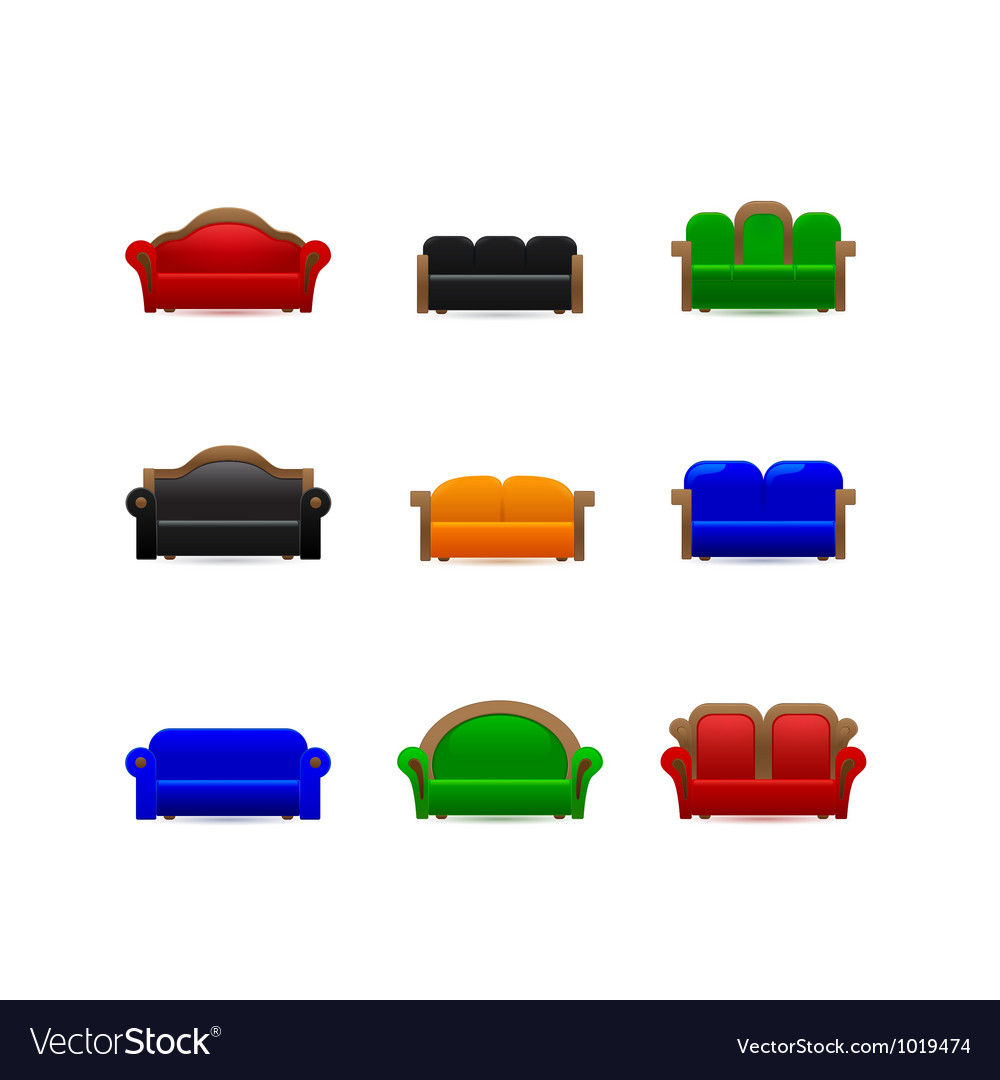 Set sofa icons vector | Price: 1 Credit (USD $1)