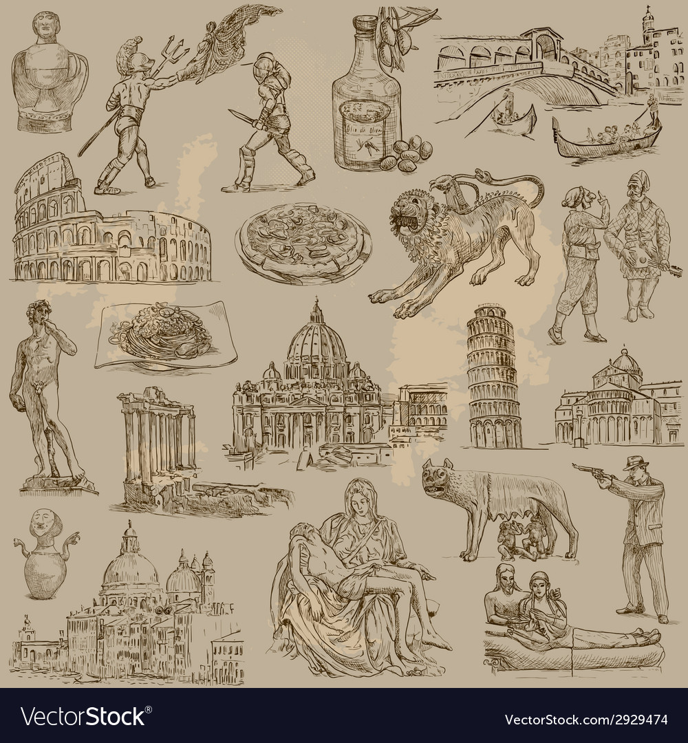 Traveling italy - an hand drawn pack vector | Price: 1 Credit (USD $1)