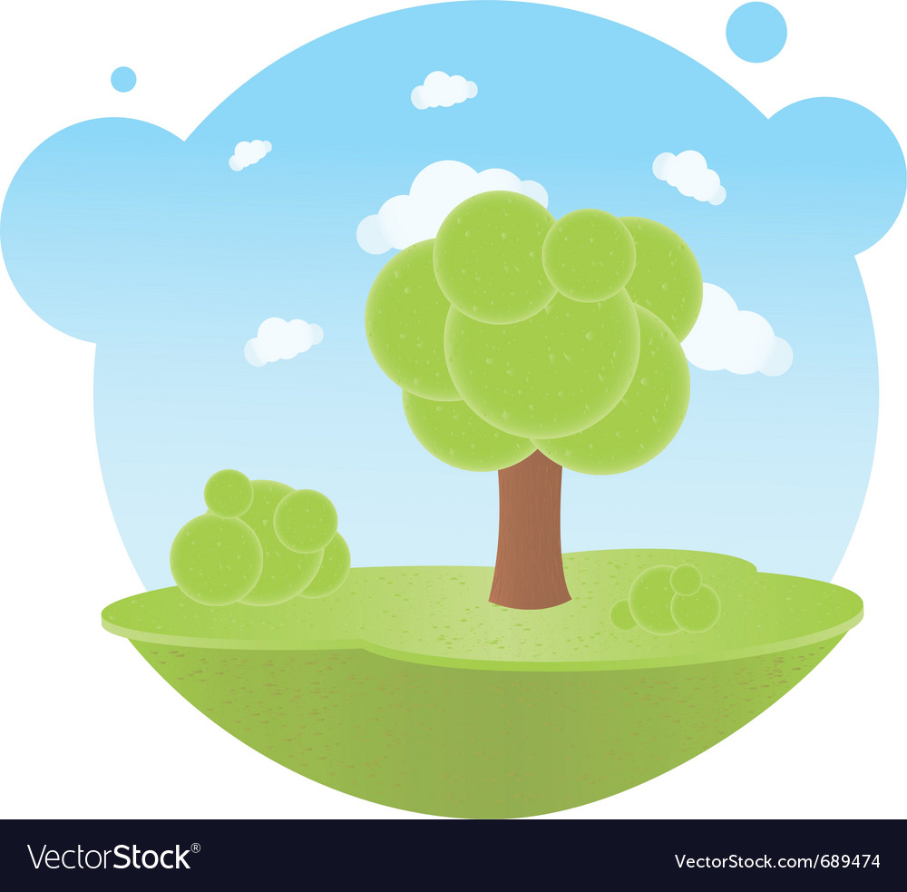 Trees and clouds vector | Price: 1 Credit (USD $1)