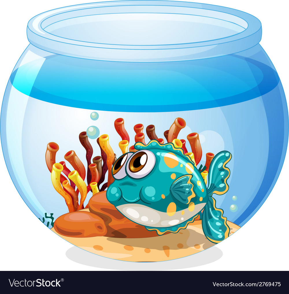 A fish inside the aquarium vector | Price: 1 Credit (USD $1)