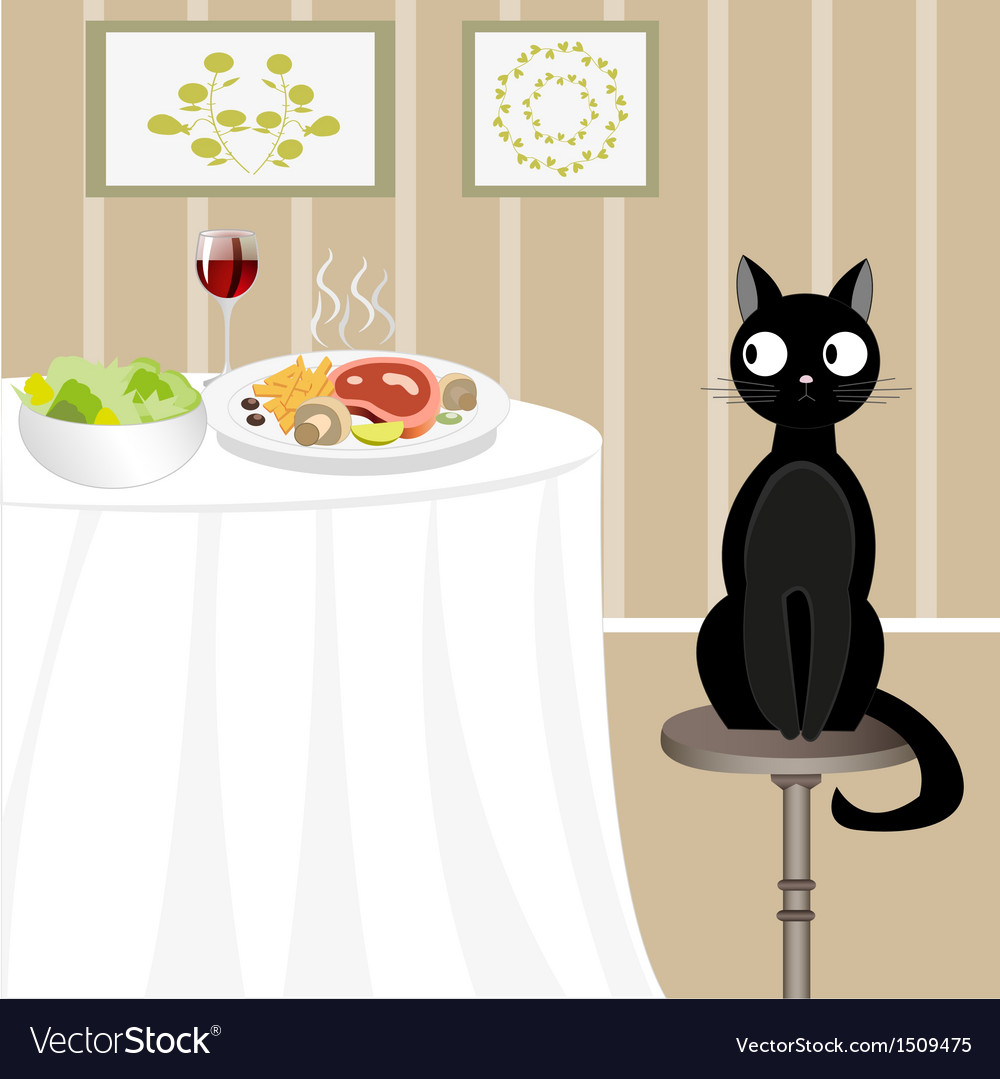 Black cat looking for food vector | Price: 1 Credit (USD $1)
