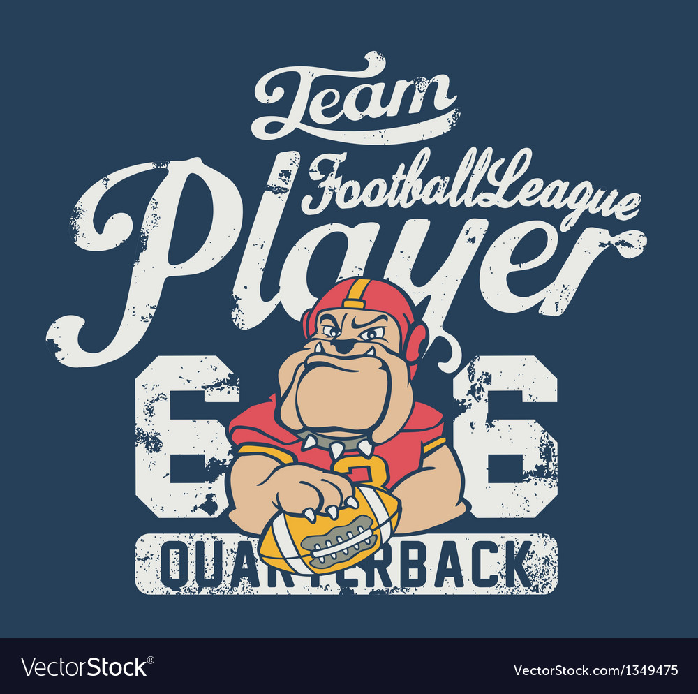 Bulldog football player vector | Price: 1 Credit (USD $1)