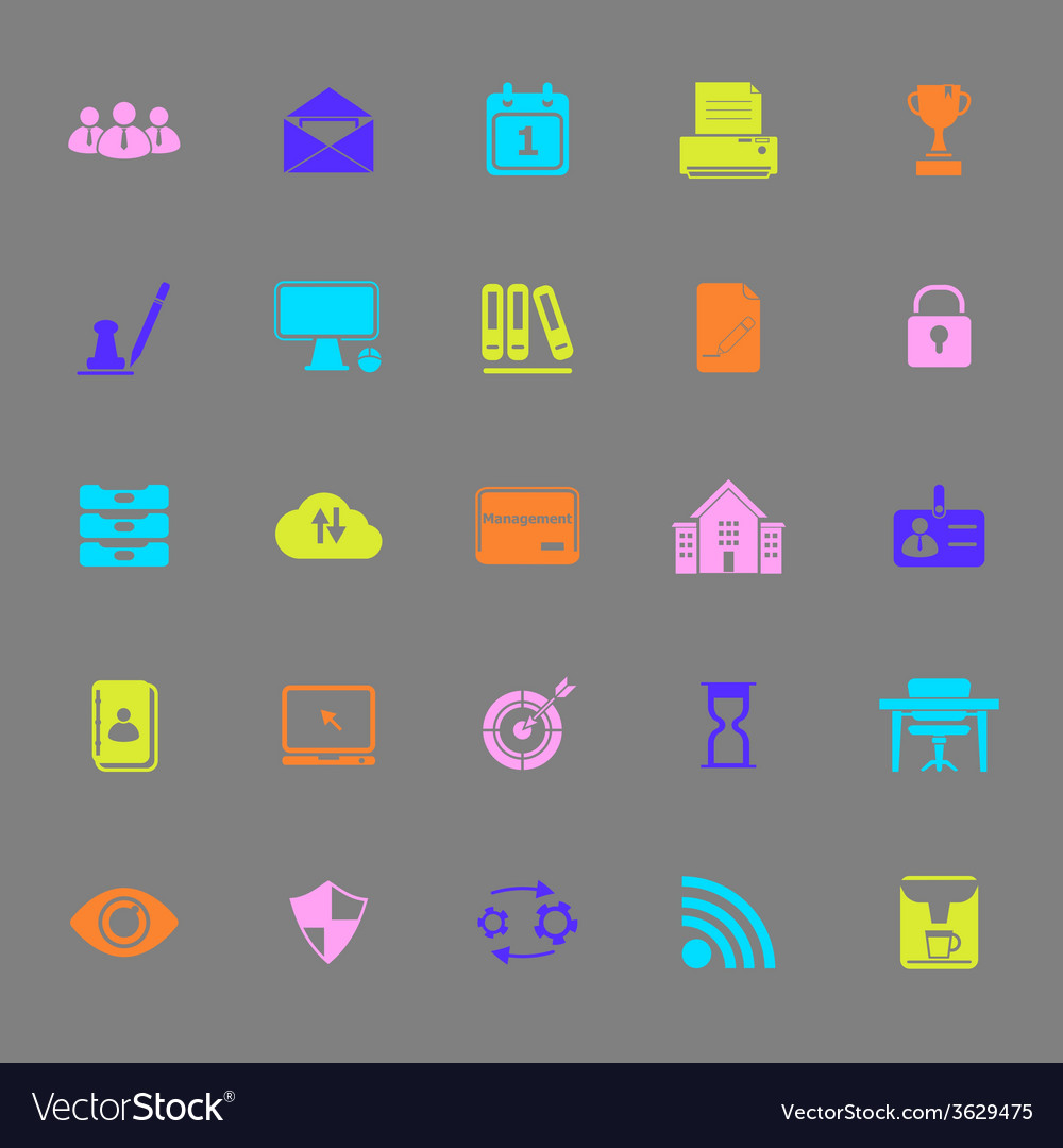 Business management color icons on gray background vector | Price: 1 Credit (USD $1)
