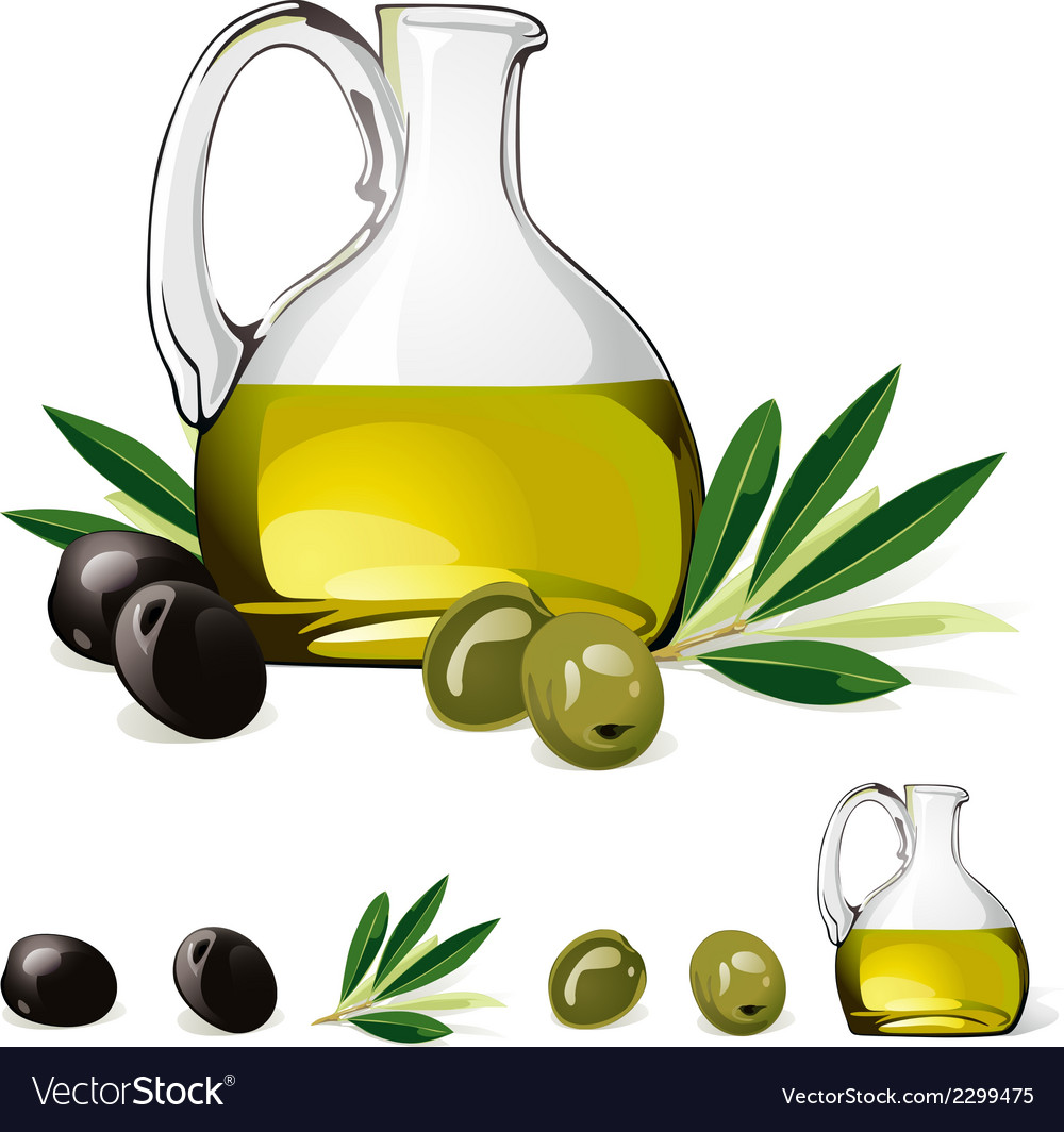 Carafe with olive oil green and black olive vector | Price: 1 Credit (USD $1)