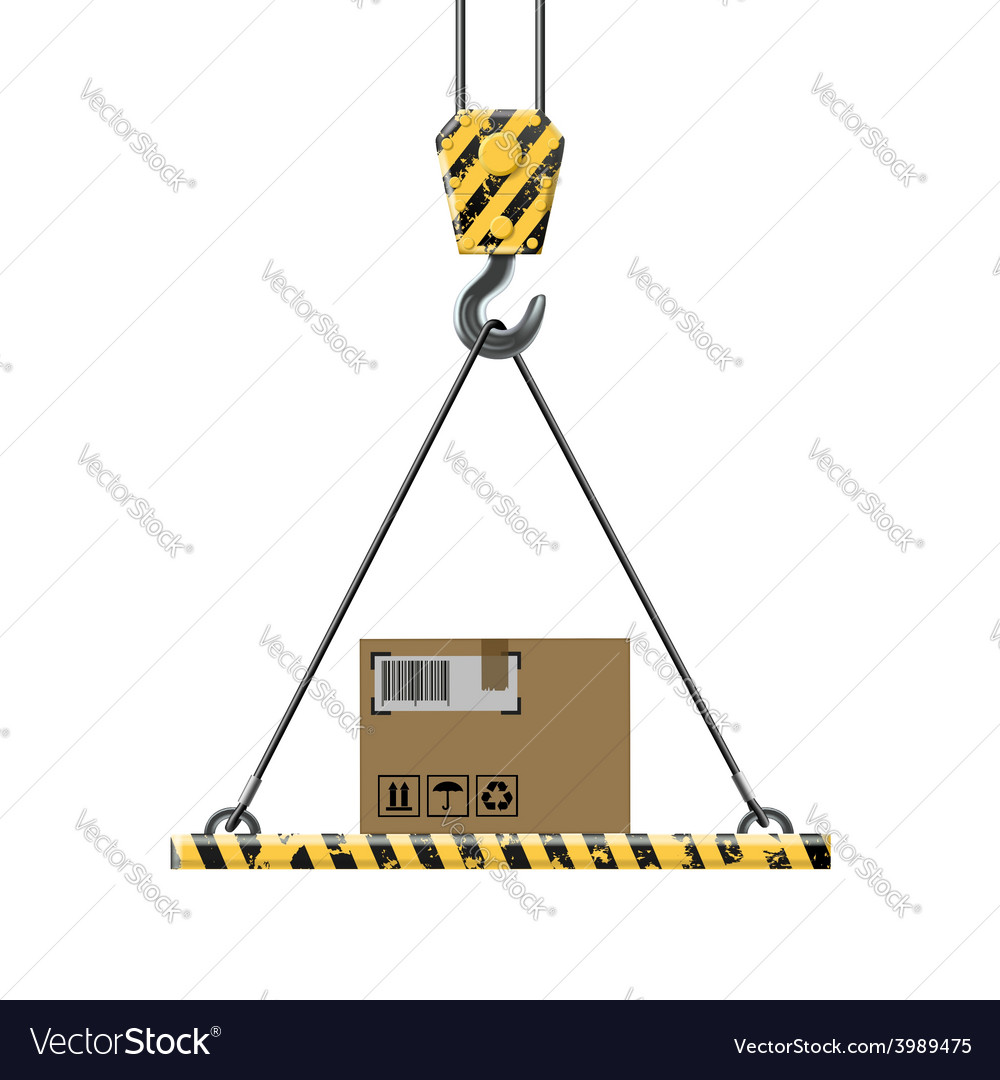 Crane lifts a box with cargo vector