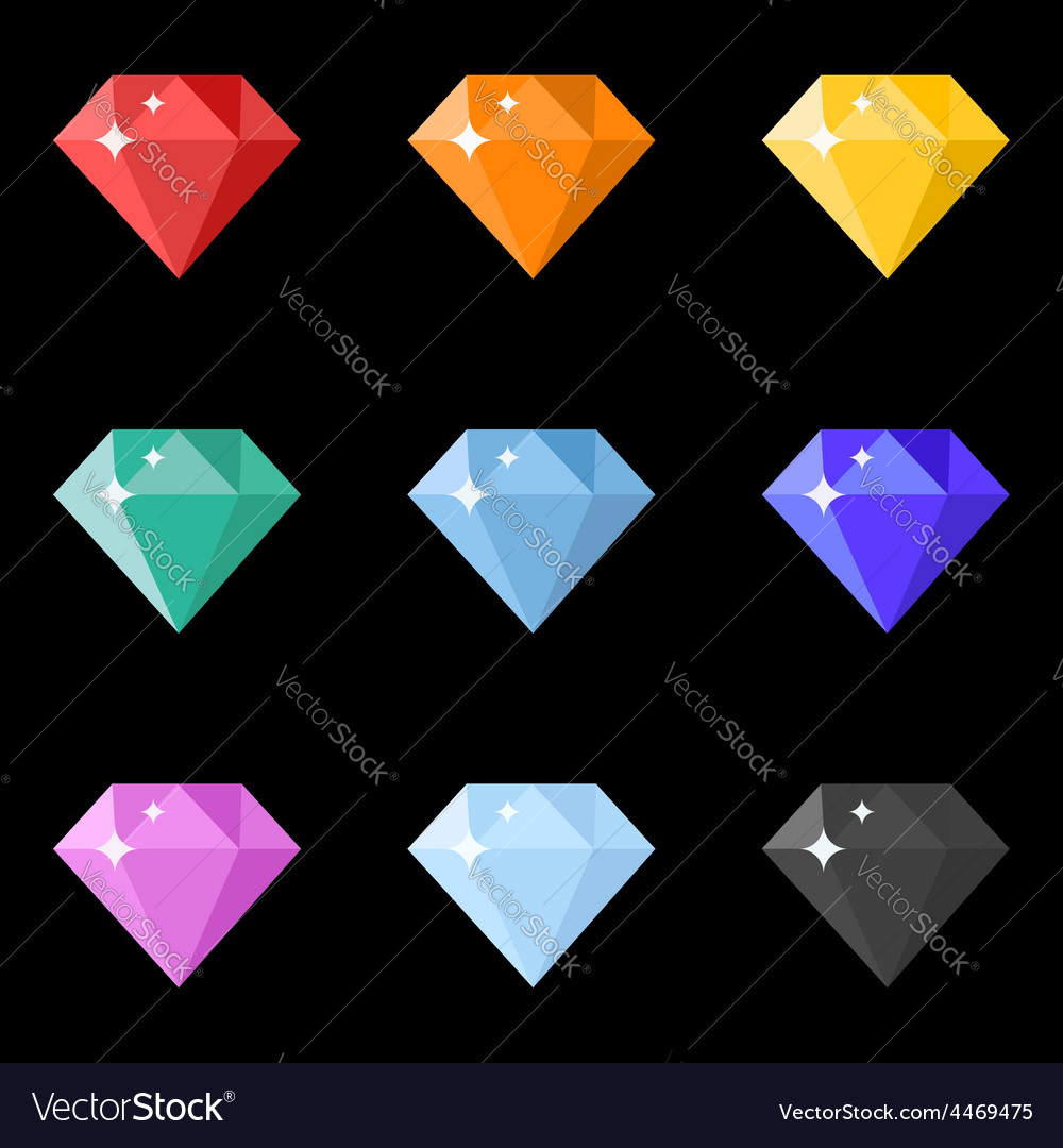 Diamonds icons set in different colors on the vector | Price: 1 Credit (USD $1)