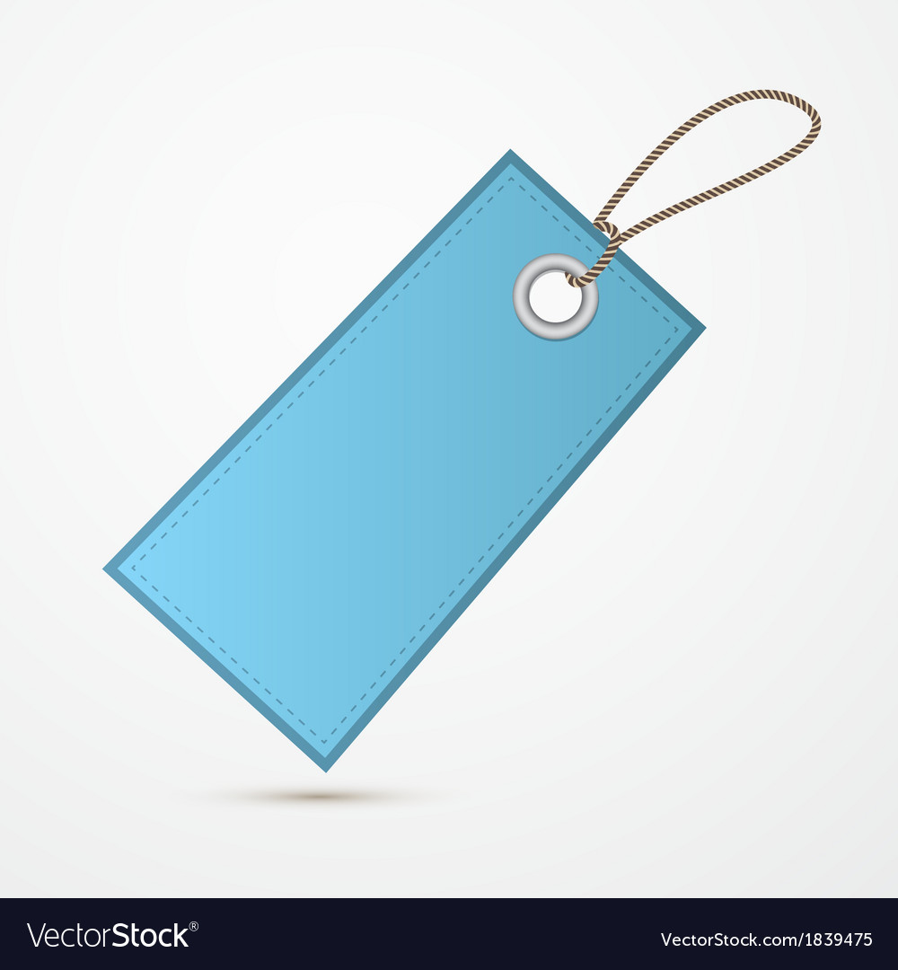 Empty blue label tag with string vector | Price: 1 Credit (USD $1)