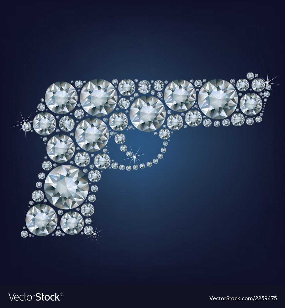Gun made up a lot of diamonds vector | Price: 1 Credit (USD $1)