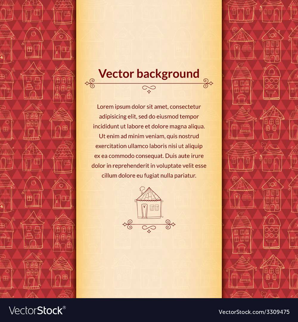 Houses background with pace for text vector | Price: 1 Credit (USD $1)