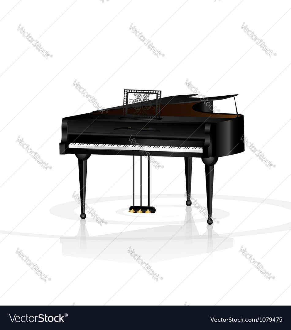 Piano in white room vector | Price: 1 Credit (USD $1)