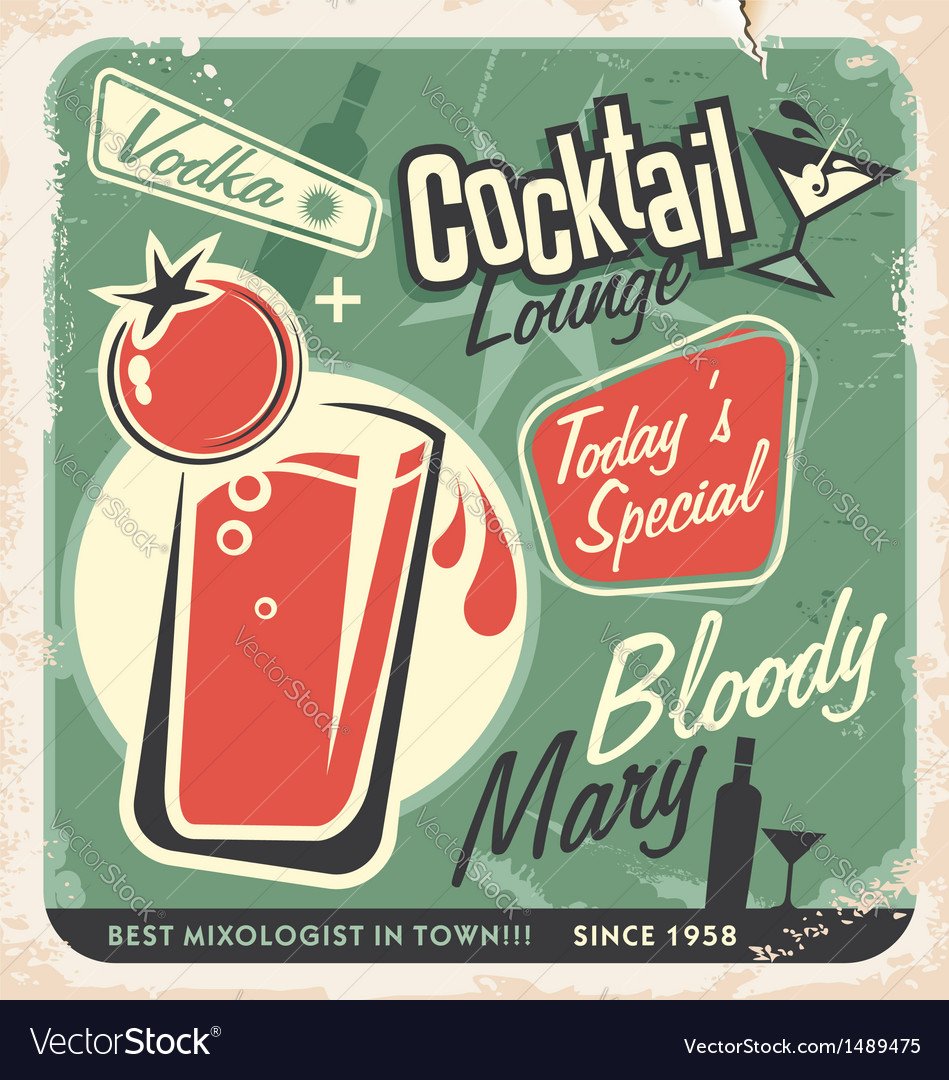Retro cocktail lounge poster design bloody mary vector | Price: 1 Credit (USD $1)