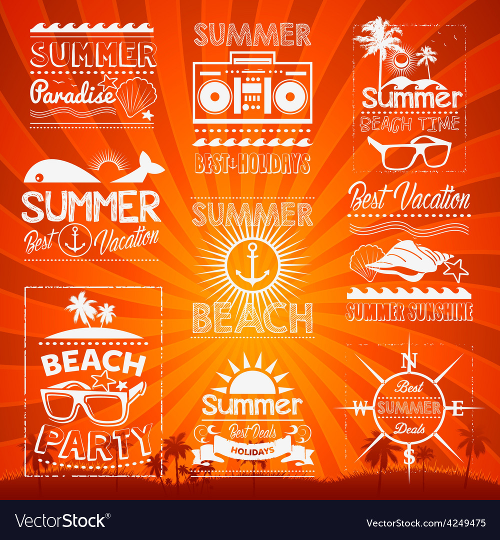 Retro hand drawn elements for summer calligraphic vector | Price: 1 Credit (USD $1)