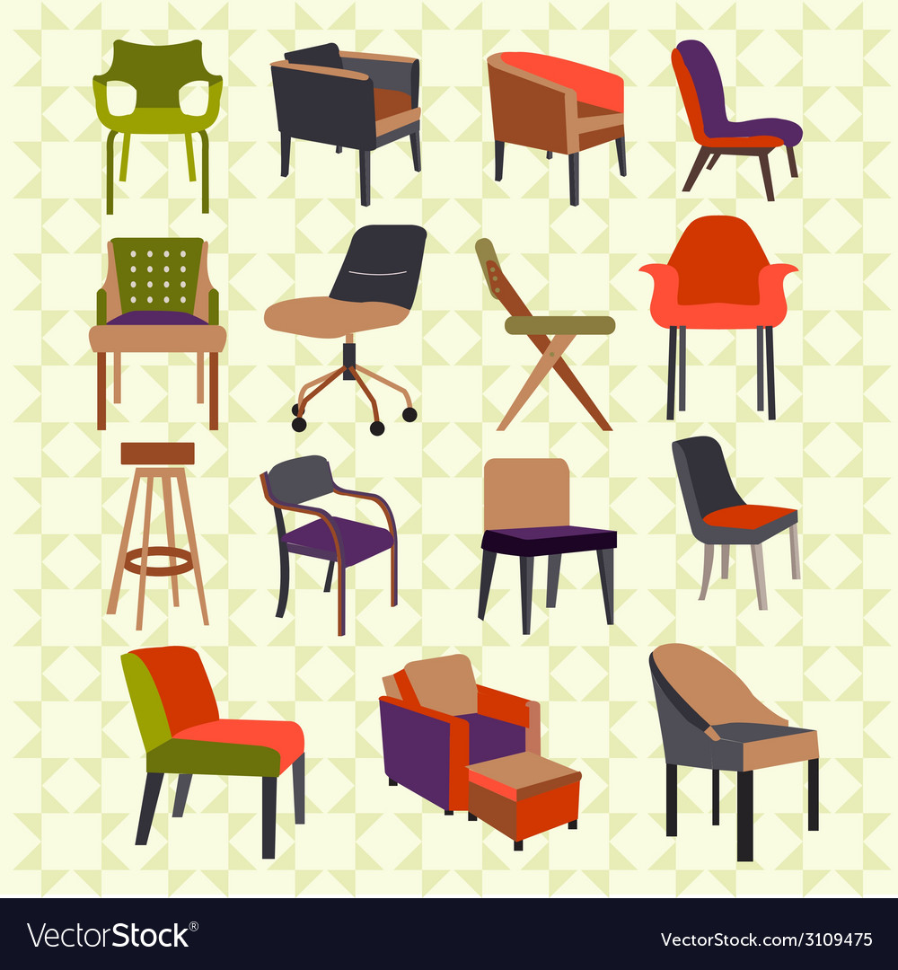 Set icons of chairs - vector | Price: 1 Credit (USD $1)