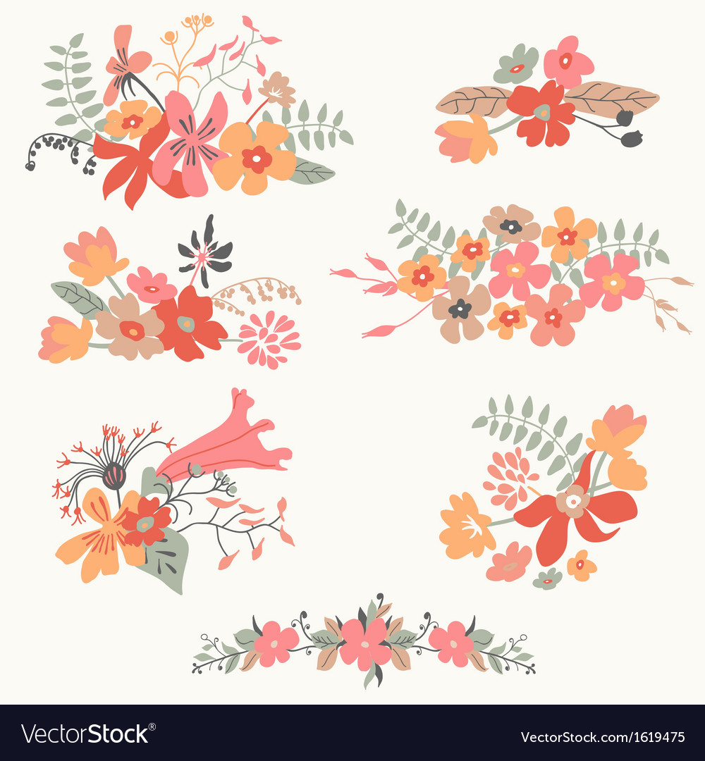 Set of seven cute floral bouquets vector | Price: 1 Credit (USD $1)