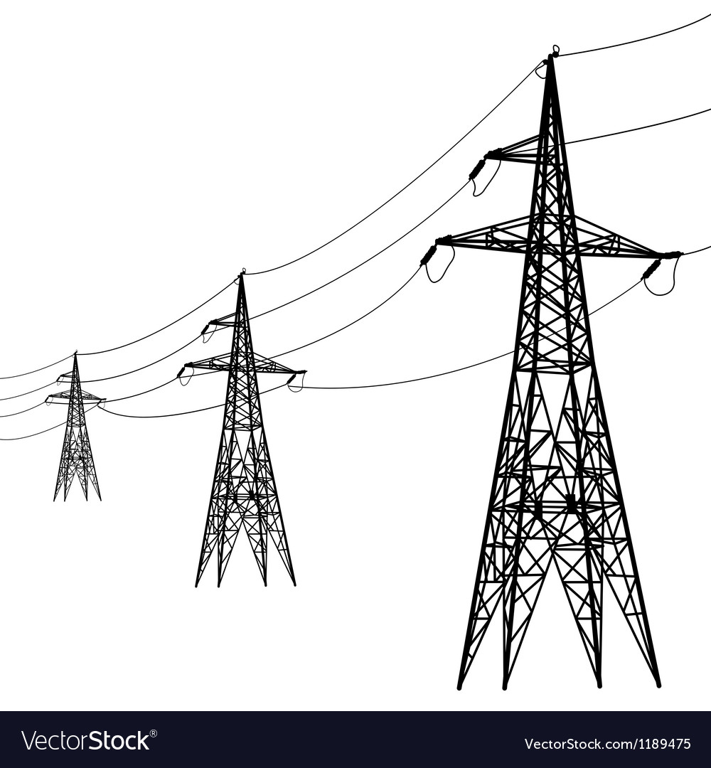 Silhouette of high voltage power lines vector | Price: 1 Credit (USD $1)