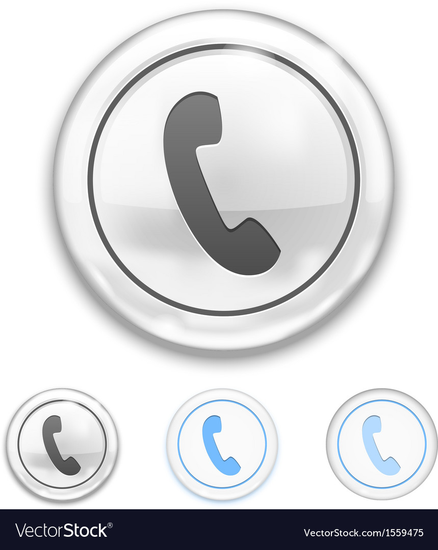 Telephone icon on button vector | Price: 1 Credit (USD $1)